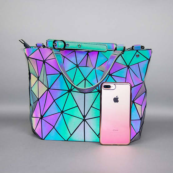Image result for A geometric reflective handbag