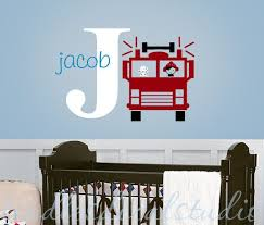 Fire Truck Fireman Dog Boys Initial Name Personalized Kids Vinyl Wall Decal Sticker Kids Room Wall Decals Nursery Art Boy Fire Truck Nursery