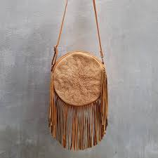 brown leather fringe purse my