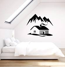 Vinyl Wall Decal Cabin Mountains Winter Nature Room Decoration Sticker Wallstickers4you