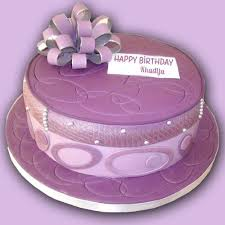 write on purple birthday cake for cute friend