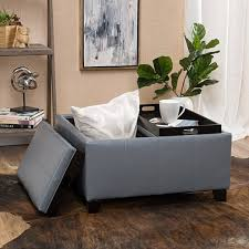 gray leather ottoman coffee table