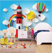3d Cartoon Lighthouse Rainbow Balloon Wallpaper Mural For Kids Room Beddingandbeyond Club