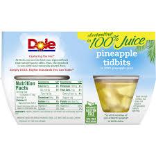 dole fruit bowls pineapple tidbits in