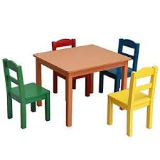 Basic Center Basic Center New Colorful Bright Vivid Kids Table And Chair Set 5 Piece Natural Wood Activity Table And 4 Chairs Set Kids Room