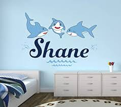 Amazon Com Custom Shark Name Wall Decal Shark Wall Decals Nautical Wall Decals Nursery Wall Decals Baby Room Mural Kids Art Decor Vinyl Sticker 36 W X 26 H Baby