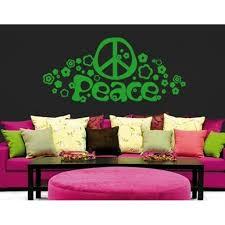 Hippie Peace And Love Sign Wall Decal Wall Sticker Vinyl Wall Art Home Decor Wall Mural 2652 Pink 79in X 36in Walmart Com Walmart Com