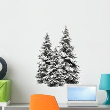 Shop Pine Trees Isolated On White Peel And Stick Wall Decals 24 In W X 22 In H Wall Vinyl Overstock 17979558