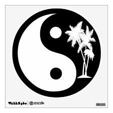 Black And White Palm Trees Yin Yang Symbol Wall Decal Zazzle Com