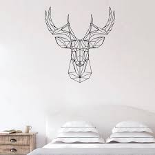 Geometric Deer Head Decal Deer Antlers Hunting Wall Decal Origami Vinyl Sticker Animal Wall Decor Stylish Decor Wall Stickers Aliexpress