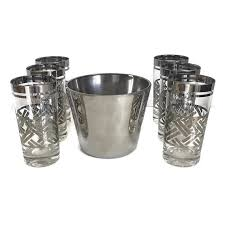 vintage barware platinum ice bucket and