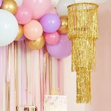 gold fringe party chandelier decoration