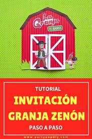 La Granja De Zenon Invitacion Infantil Party Pop