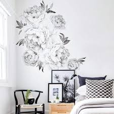 Peony Flowers In Black And White Wall Decals