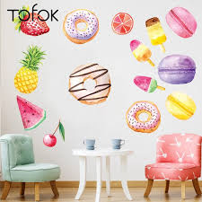 Tofok Diy Fruit Popsicle Macarons Donut Wall Sticker Painted Living Room Kitchen Decorative Wallpaper Removable Dorm Decals Wall Stickers Aliexpress
