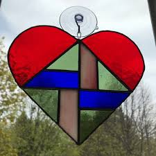 heart stained glass window art decor