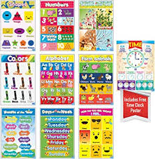 Amazon Com Educational Preschool Posters For Toddlers And Kids Perfect For Children Preschool Kindergarten Classrooms Teach Alphabet Letters Numbers Weather Days Of The Week Emotions Month Of The Year And More
