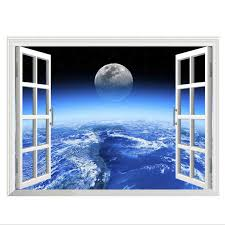 New 3d Window Outer Space Large Planet Wall Stickers For Kids Rooms Galaxy Wall Decal Mural Home Decor Gift For Children Poster Sticker For Kids Room Wall Stickers For Kidswall Sticker Aliexpress