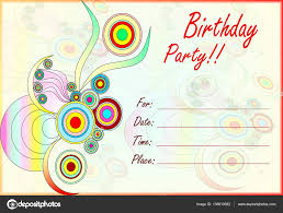 Colorful Birthday Party Invitation For Kids Stock Photo