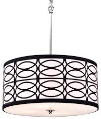 round drum shade chrome finish pendant