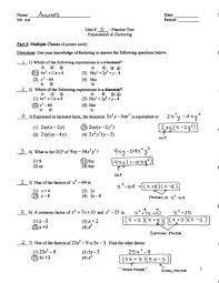 factoring practice test answers pdf