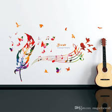 Music Note Colorful Feather Wall Decals Butterfly Pattern The Song Of Birds Quote Wall Sticker Diy Home Decoration Wallpaper Art Decor Home Wall Decor Stickers Home Wall Sticker From Magicforwall 4 53 Dhgate Com