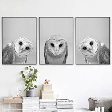 Modern Painting Canvas Black And White Cute Owl Wall Art Woodland Poster Bird Prints Animal Picture Nursery Home Decor Picture Wish