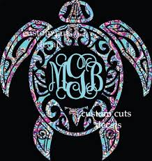 Sea Turtle Decal Turtle Monogram Decal Lilly Inspired Iphone Decal Yeti Decal Tumbler Decal Car Window Decal Our White Cottage