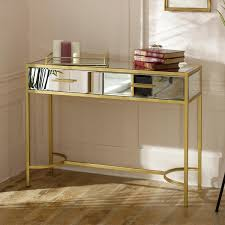 large gold frame mirrored console table