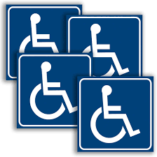 Amazon Com Handicap Signs Stickers Decal Symbol 4 Pack 6x6 Inch Ada Compliant Disable Wheelchair Sign Disability Sticker Premium Self Adhesive Vinyl Laminated Indoor Outdoor