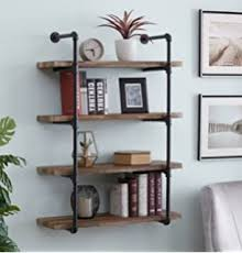 """Amazon.com: Kate and Laurel Adela Rustic Wood and Metal Wall Shelf, 18.25""""  x 7.5"""" x 41"""", Caramel Brown and Black, Industrial Farmhouse Home Decor:  Furniture & Decor"""