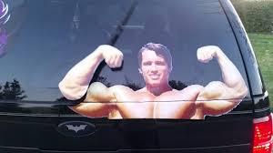 Flexing Arnold Rear Window Wiper Decal