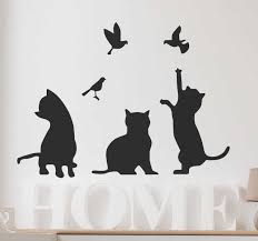 Silhouette Cats And Birds Wall Sticker Tenstickers
