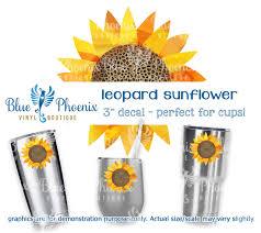 Leopard Sunflower Color Cup Decal Blue Phoenix Vinyl Boutique