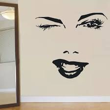 Beautiful Woman Face Wall Sticker Eyelash Eye Winks Lips Wall Decal Girl Lashes And Brows Wall Mural Beauty Salon Decor Ay882 Wall Stickers Aliexpress
