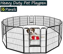 Amazon Com Dog Fence Outdoor Heavy Duty Dog Pen Indoor Multiple Shape Configurations Puppy Playpen 32 L X 24 H 16 Panel Extra Large Dog Crate Kennel Cage For Small Large Dogs