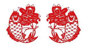 Buy Chinese Grilles Chinese Paper Cut Art For Koi Fish And Lotus Jian Zhi Chinese New Year Decorations Vinyl Decal Sticker Red Each Koi Fish Is 8 Inches In Cheap Price On Alibaba Com