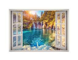 Crystal Water Waterfall View Window 3d Wall Decal Art Decal Wall Art Mural Wallpaper 3d Wall Decals