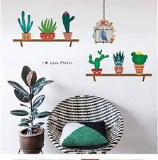 Amazon Com Qinheny Creative Bonsai Cactus Wall Stickers Livingroom Decorations Kids Room Decals Bedroom Plant Mural Art Furniture Decor Diy Posters 95x77cm Home Kitchen