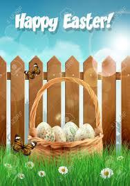 Easter Basket With Easter Eggs On A Field With Picket Fence Royalty Free Cliparts Vectors And Stock Illustration Image 53255868