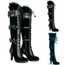 womens high heel gothic tall lace up