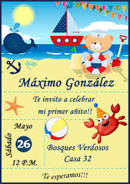 Tarjeta Invitacion Nautica Digital Cumpleanos 150 00 En