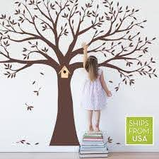 Simple Shapes Family Tree Wall Decal Tree Wall Decal For Picture Frames In Chestnut Brown Standard Size W5018 Ch Std The Home Depot