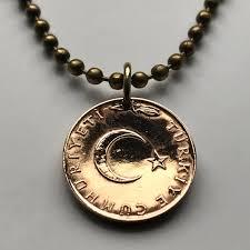 1968 turkey 5 kurus coin pendant
