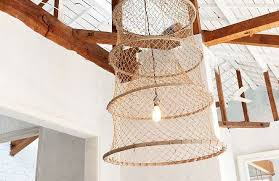 fishing baskets as sculptural lights