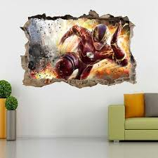 The Flash 3d Smashed Hole Wall Sticker Decal Diy Mural Marvel Super Heroes J822 Ebay