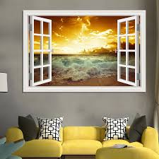 Seaside Sunset Landscape 3d Sticker Good Quality Removable Wall Decal Seascape Window View Wallpaper Home Decor Living Room Wall Art Removable Wall Decalsdecoration Living Room Aliexpress
