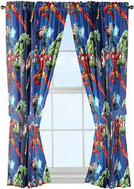 Amazon Com Marvel Avengers Blue Circle Microfiber Curtain Panel Pair With Tiebacks Set 84 Inches Wide 42 Inches Panel 63 Inches Long Home Kitchen
