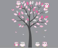 Amazon Com Owl Wall Decals Nursery Room Wall Decals Pink And Gray Fabric Tree Baby