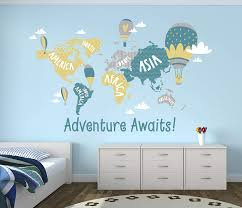 Amazon Com World Map Wall Decal Adventure Awaits Map Wall Decal Hot Air Balloon Nursery Wall Decal Quote Vinyl Sticker 70 X 46 Baby